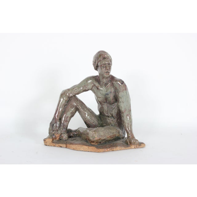 Modern Relaxed Male Nude Sculpture in Clay on Wood, 2005 For Sale - Image 4 of 4