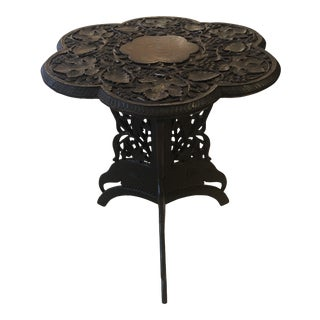 Flower Shaped Anglo Indian Carved Wood End Side Table For Sale