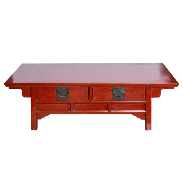 Asian Red Wooden Coffee Table For Sale - Image 10 of 10