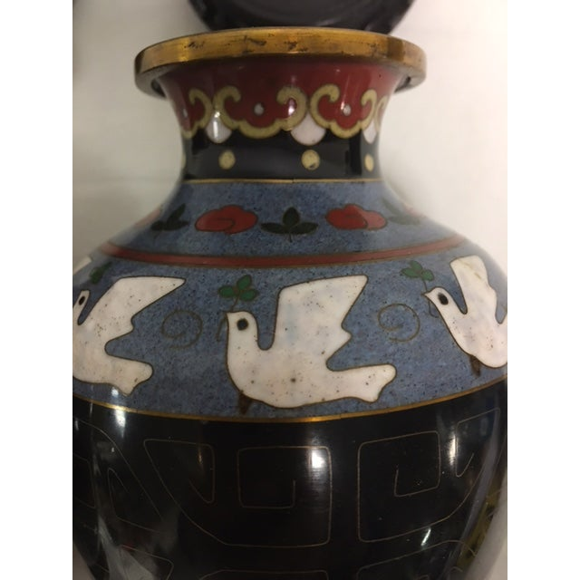 Vintage Asian Cloisonne Vases - A Pair For Sale - Image 5 of 8