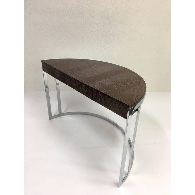 Cerused Oak and Chrome Demilune Desk by Milo Baughman - Image 2 of 11