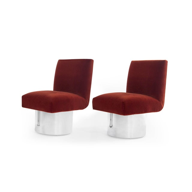 Mid 20th Century Milo Baughman Swivel Chairs on Drum Nickel Bases For Sale - Image 5 of 10