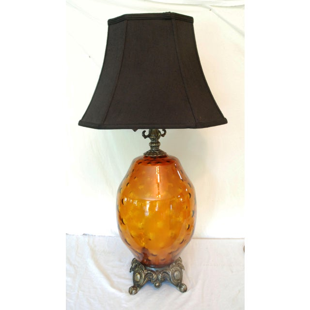 Large Mid-Century Amber Glass Table Lamp and Shade - Image 3 of 5
