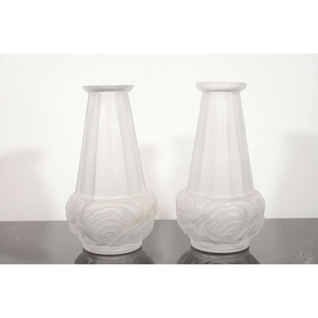 Superb Pair Of Frosted Glass Art Deco Vases By Espaivet Decaso