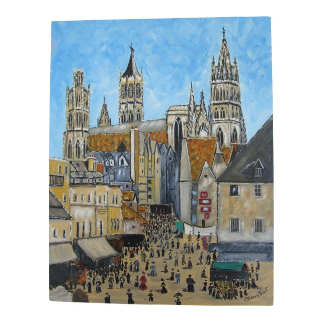 Vintage Painting of European Cathedral For Sale