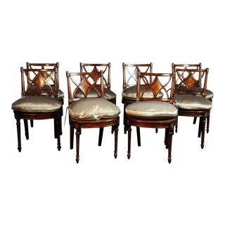 Set of 8 Maitland Smith Mahogany Regency Style Side Chairs For Sale