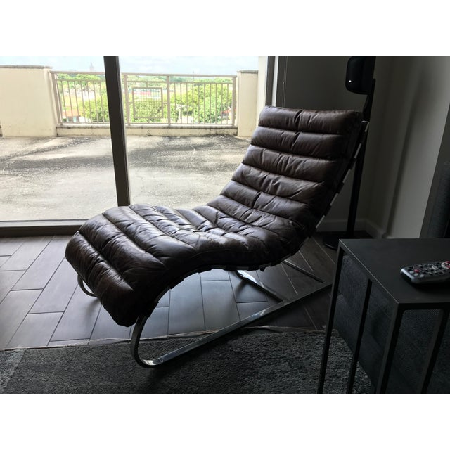Restoration Hardware Leather Chaise - Image 5 of 6