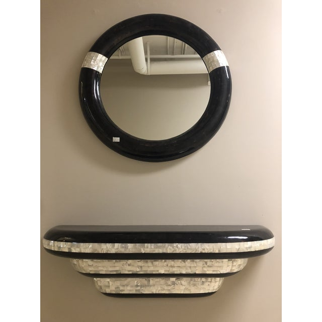 1980s Vintage Design Concepts Mother of Pearl & Pen Shell Wall Hung Shelf and Mirror- A Pair For Sale - Image 13 of 13
