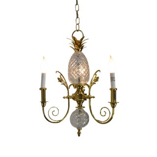 Brass & Chrystal Pineapple Small Chandelier Possibly Waterford For Sale