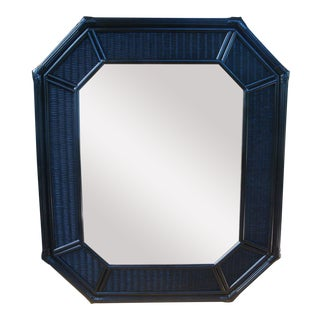 "42"" Chinoiserie Black Octagonal Rattan Wicker Mirror For Sale"