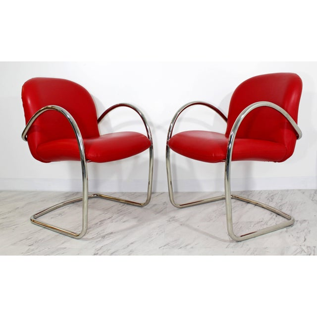 Brueton 1980s Mid-Century Modern Brueton Red Leather Dining Armchairs - Set of 6 For Sale - Image 4 of 10