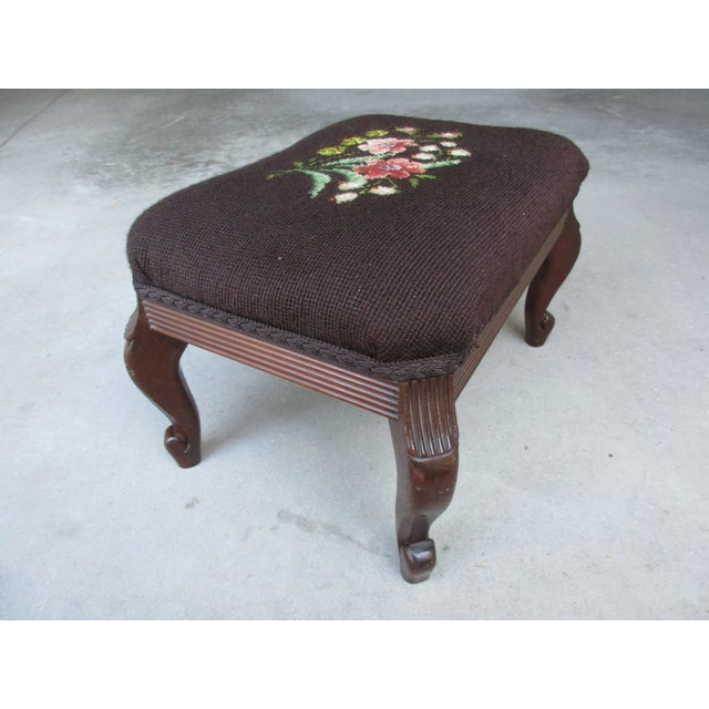 Early 20th Century Vintage Mahogany Needlepoint Footstool For Sale - Image 5 of 13