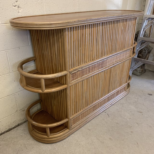 Boho Chic Large Bamboo Bar For Sale - Image 3 of 13