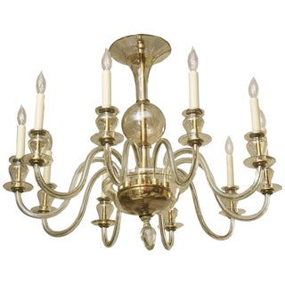Ten-Arm Italian Murano Glass Clear and Gold Aventurine Chandelier
