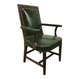 Vintage Kelly Green Leather Armchair With Brass Tacks For Sale