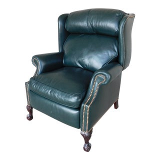 Classic Leather Co. Chippendale Style Wing Back Ball & Claw Foot Recliner For Sale