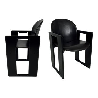 Four Leather Dialogo Dining Chairs by Afra and Tobia Scarpa for B&B Italia For Sale