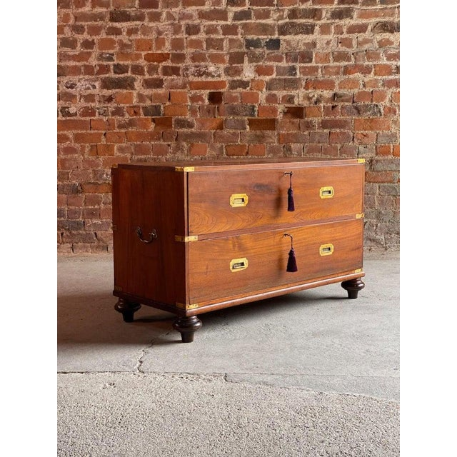 Campaign 1850 Antique Campaign Teak Chest of Drawers For Sale - Image 3 of 13