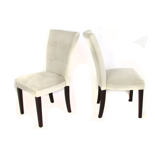 Ivory Microsuede Side Chairs - A Pair - Image 3 of 5