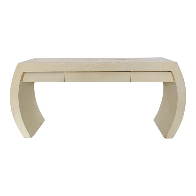 1980s Contemporary Waterfall Plaster Console Table With Drawer For Sale