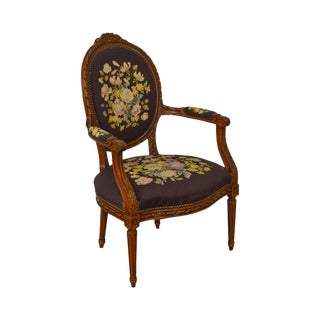 French Louis XVI Style Vintage Carved Needlepoint Fauteuil Arm Chair
