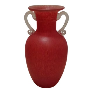 Red Art Glass Vase With Applied Handles