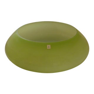 German Zwiesel Monumental Mid-Century Green Glass Bowl
