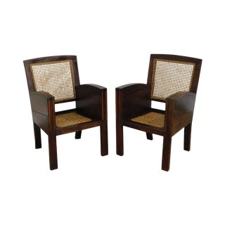 Vintage Anglo Indian Hardwood Art Deco Pair Caned Armchairs For Sale