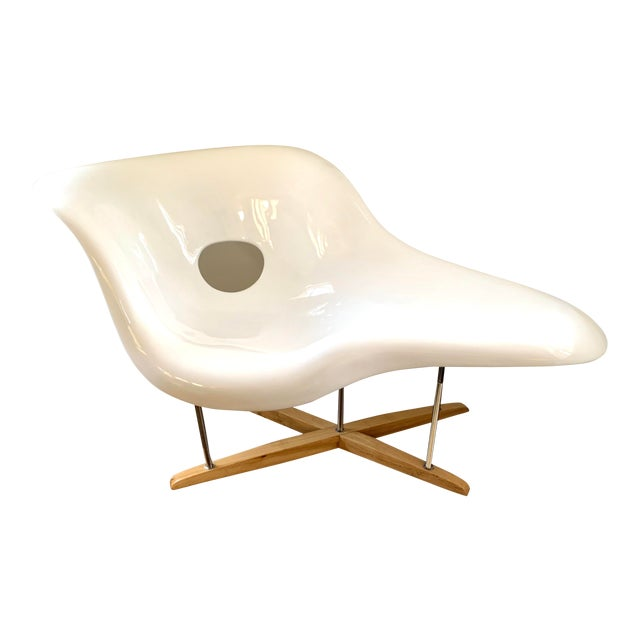 """Mid Century Charles Eames """"La Chaise"""" White Lounge Chair For Sale"""