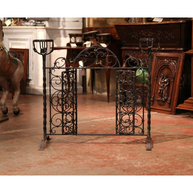 French 19th Century French Forged Iron Double Door Fireplace Screen With Bowl Holders For Sale - Image 3 of 10