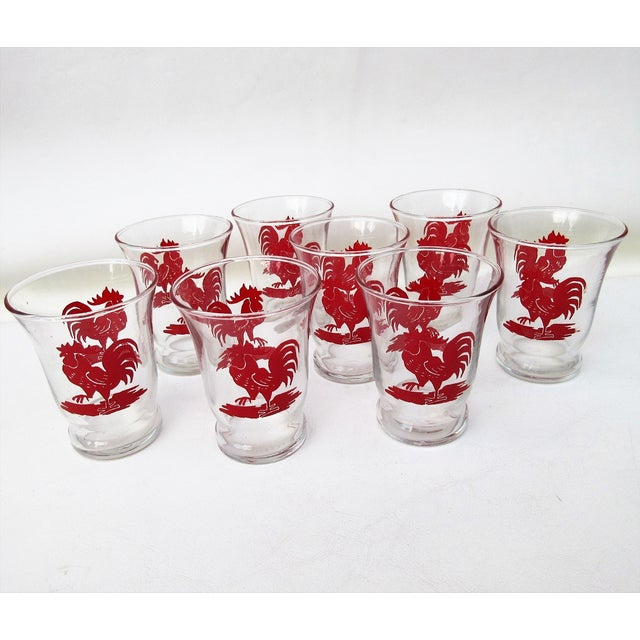 Red rooster glassware has a rooster on both sides. Nice set of 8 Libby glasses are so cute and perfect for the breakfast...