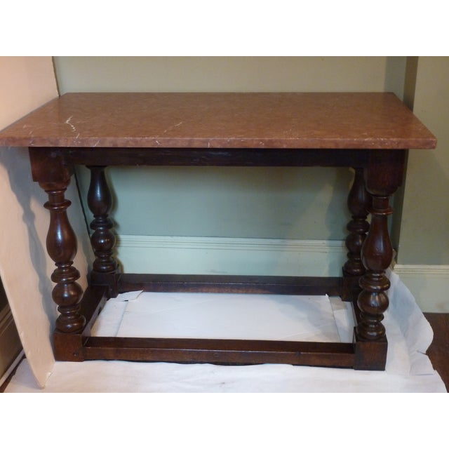 """19th Century Baroque Style rich patina oak table with turned legs and crossbars,1""""thick rosso antico marble top, sturdy...."""
