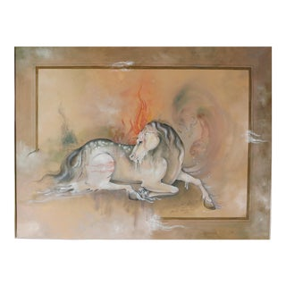 1990s Horse Painting by Mohammad Reza Sharify For Sale