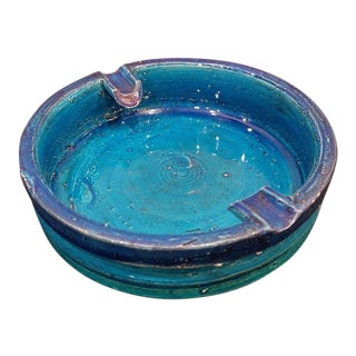1960s Italian Bitossi Aldo Londi Blue Retro Pottery Ash Tray For Sale