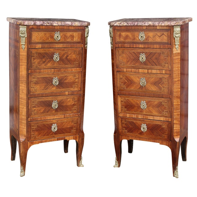 Louis XV Style Tulipwood Petit Commodes - a Pair For Sale - Image 12 of 12
