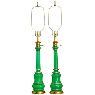 Frederick Cooper Handblown Green Glass Lamps - A Pair
