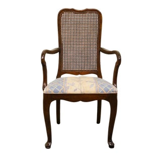 20th Century Traditional Davis Cabinet Co. Solid Cherry Cane Back Dining Arm Chair For Sale