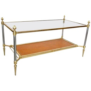 French Maison Jansen Bronze and Brused Steel Leather Coffee Table