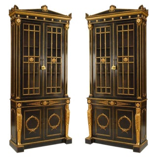 19th Century English Regency Bookcase Cabinets - a Pair For Sale