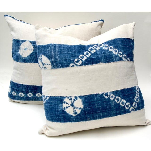 Cotton African Indigo Tie-Dye Pillow Pair For Sale - Image 7 of 7