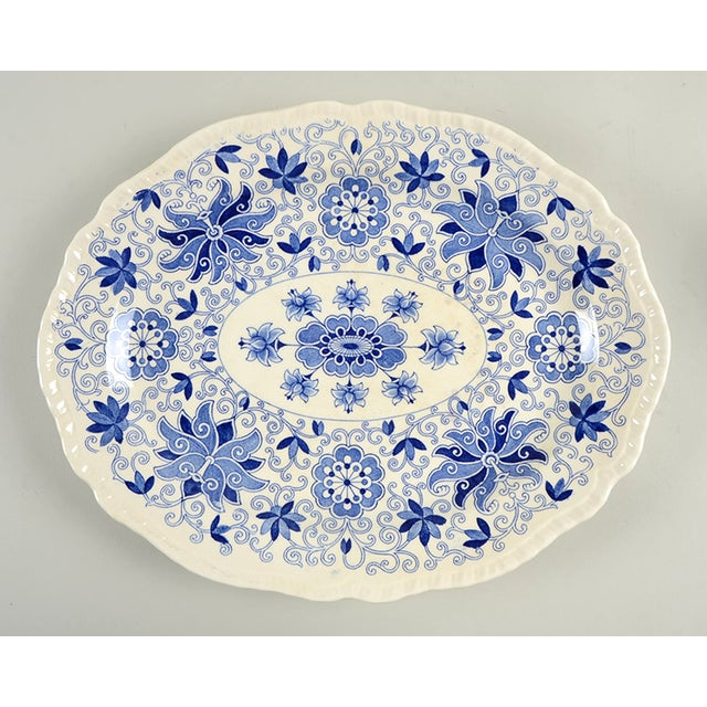 """Mason's Bow Bells Blue 13"""" Oval Serving Platter For Sale In Greensboro - Image 6 of 6"""