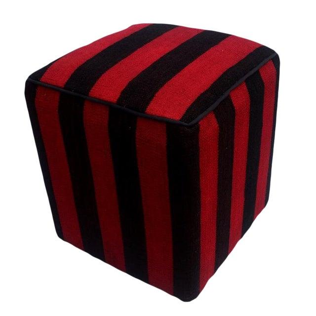Arshs Domoniqu Red/Black Kilim Upholstered Handmade Ottoman For Sale