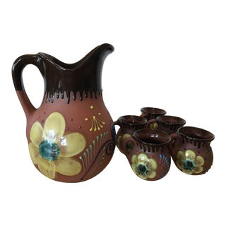 Country Mexican Folk Art Drip Glaze Red Earthenware Pottery Pitcher and Cups - Set of 6