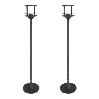 Mid Century Iron and Brass Candlesticks by Jens Quistgaard for Dansk - a Pair For Sale