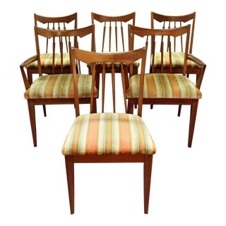 Set of 6 Mid-Century Danish Modern Spindle Back Walnut Dining Chairs
