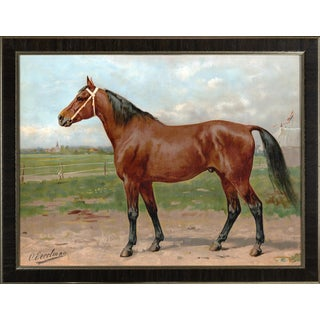 American Race Horse by Eerelman Framed in Italian Wood Vener Moulding For Sale