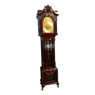 Antique 1900 English Grandfather Clock, Musical 8 Day Movement For Sale