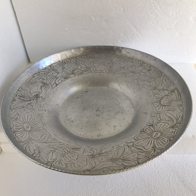 Beautiful hand forged metal etched decor tray. Boho chic carved floral pattern with textured edges and hammered or forged...