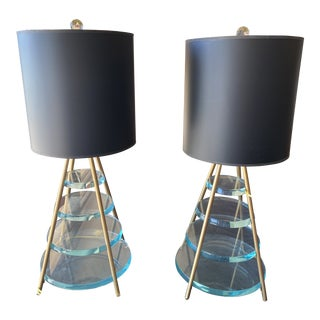 Lucite Table Lamps-A Pair For Sale