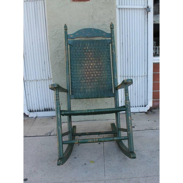 Early 20th Century Original Green Painted Rocking Chair - Image 2 of 7